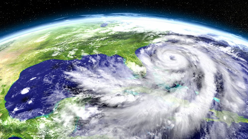 Satellite view of hurricane formation over the eastern coast of Florida