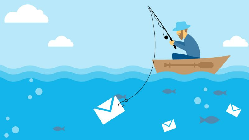 Illustration of man in a boat fishing for envelope with private information in it