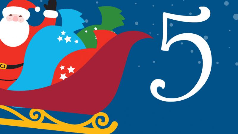 Illustration of Santa waving from his sleigh