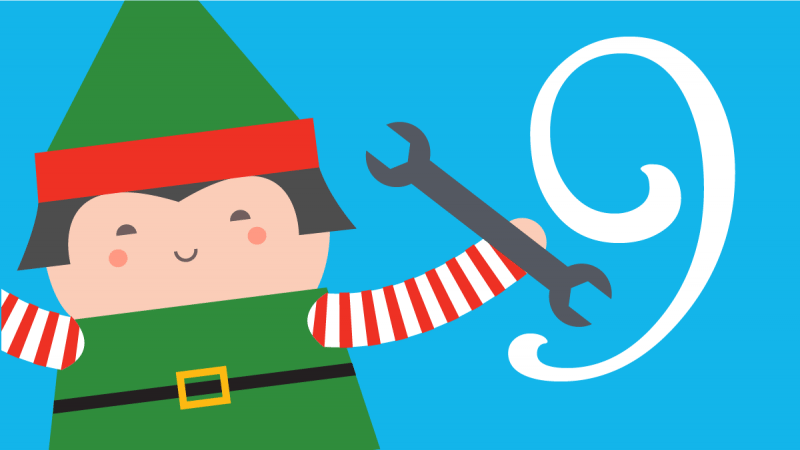 Illustration of an elf holding a wrench next to the number 9