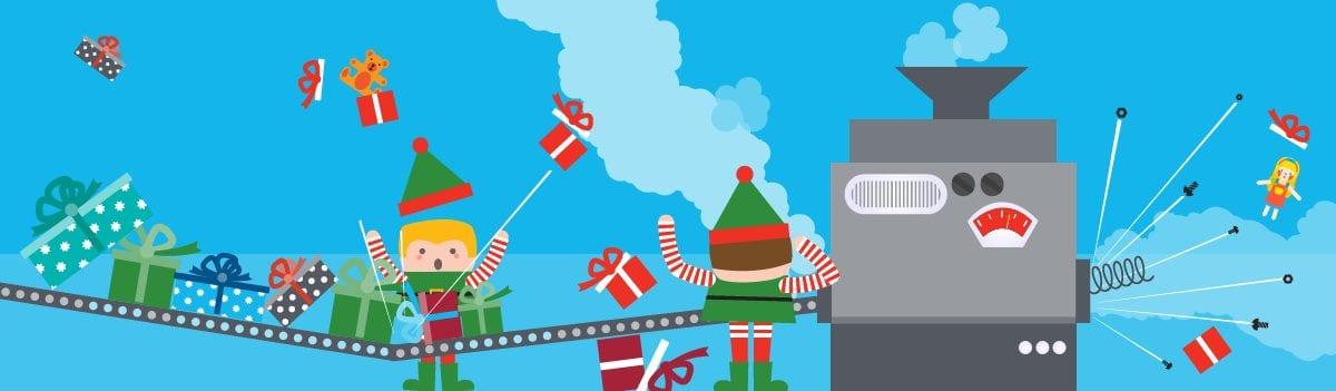 Panoramic illustration of elves working on a malfunctioning conveyor belt in Santa's workshop