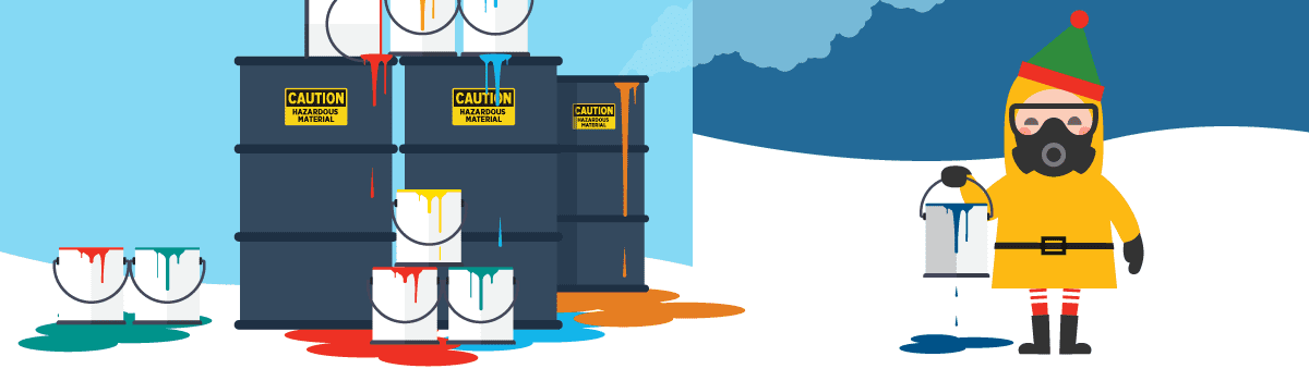 Illustration of an elf in a hazmat suit near overflowing paint cans