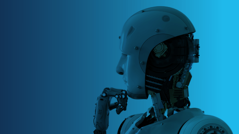 Profile of artificial intelligence robot with hand to chin as if thinking