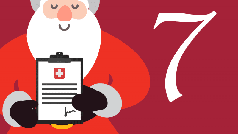 Illustration of Santa holding a signed medical document on a clipboard