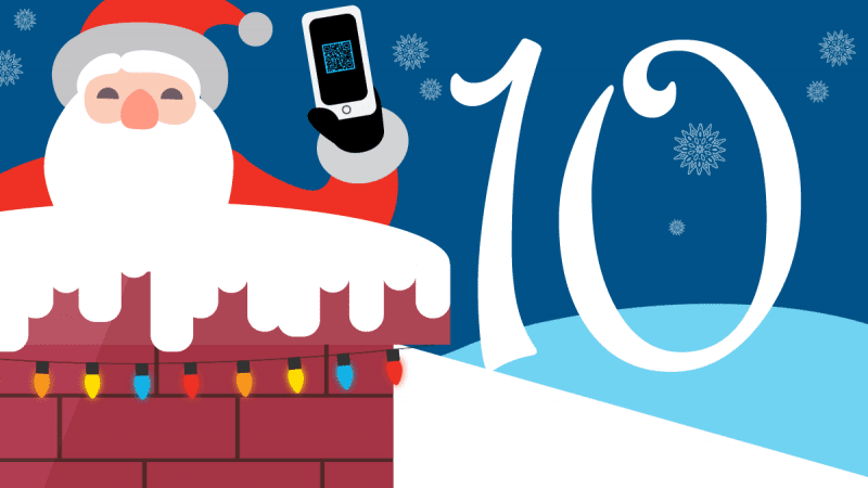 Illustration of Santa coming out of a chimney with a smartphone next to a number 10