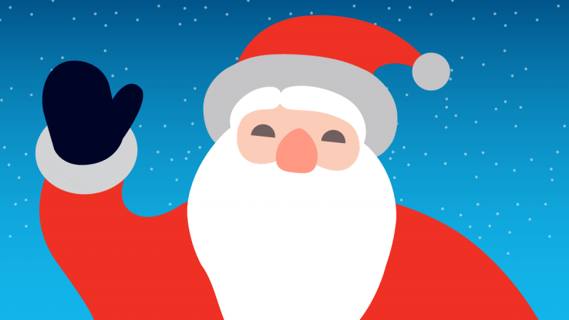 Illustration of Santa waving with snowy background