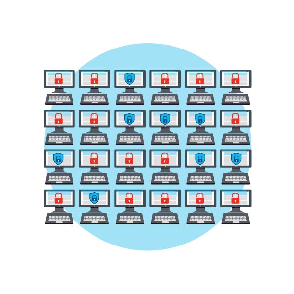Illustration of numerous computer screens, some with red locks and others with blue