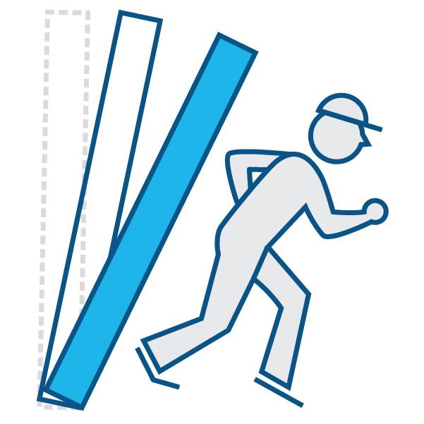 Illustration of construction worker running from material falling down
