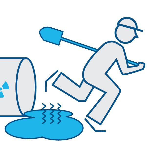 Illustration depicting man with shovel running away from spilled harmful chemical