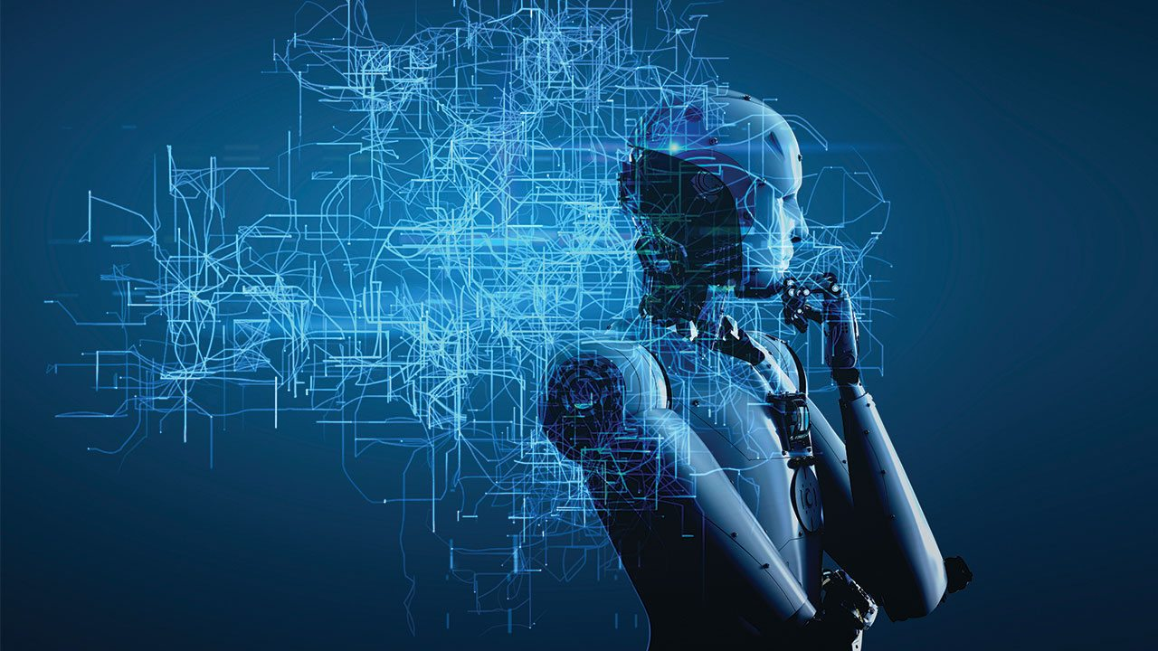 Profile of artificial intelligence profile with hand to its chin as if thinking
