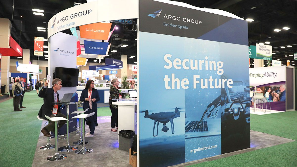 Argo Group exhibitor booth in expo hall at RIMS