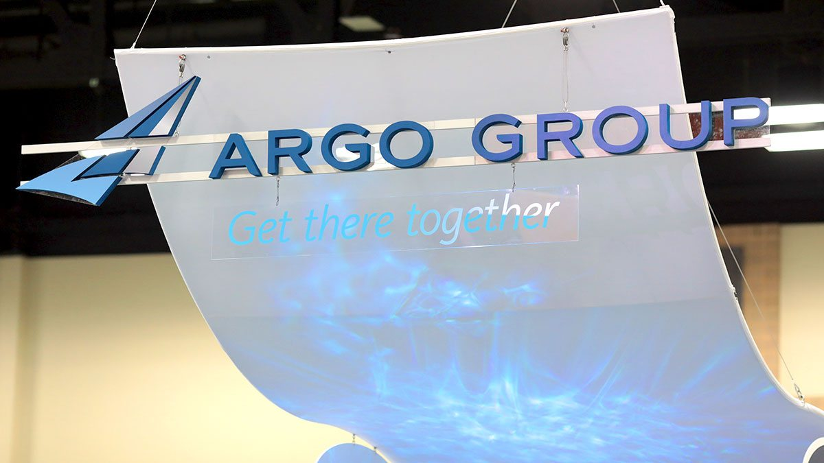 Argo Group sign hanging from ceiling at RIMS event