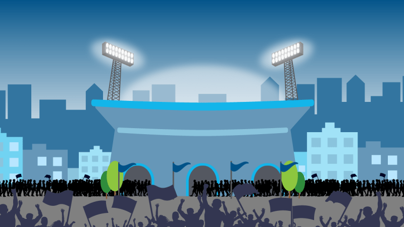 Illustration of stadium with lights on and large crowds outside waiting to get in