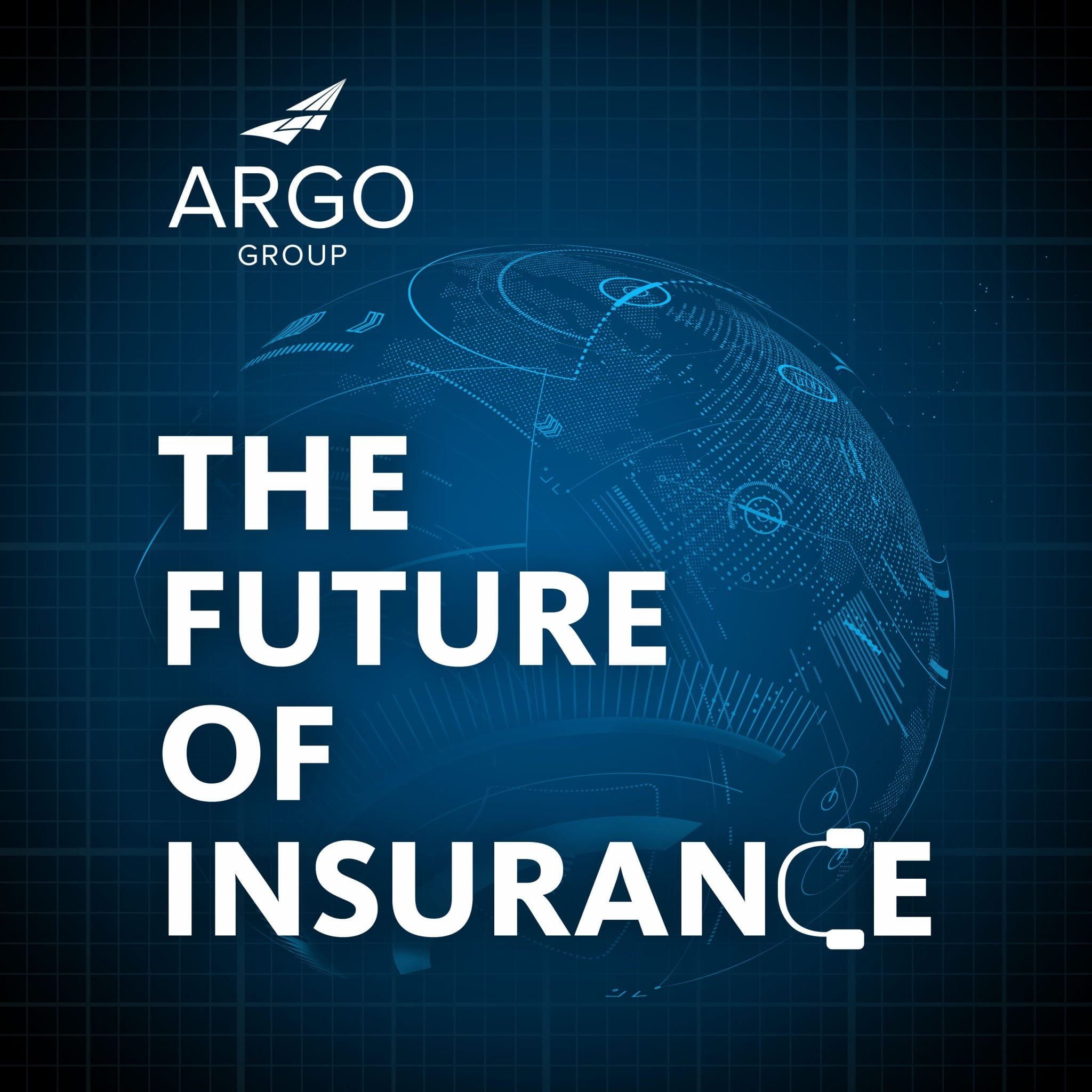 The Future of Insurance logo with digital globe representation in background