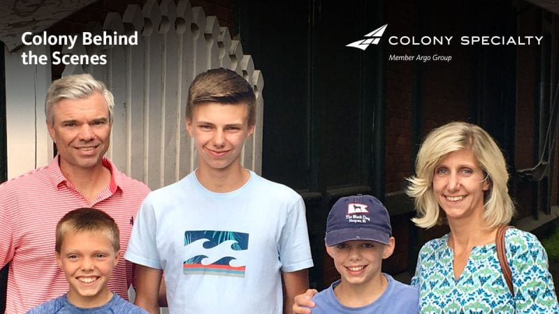 Colony Specialty employee Jeff Canfield posing with his wife and three boys