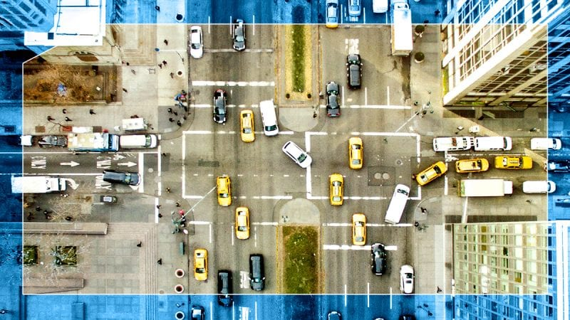 Aerial view of traffic in a crowded intersection