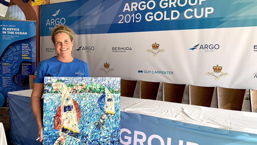 recycled-plastic-art-Argo-Group-Gold-Cup-beach-cleanup