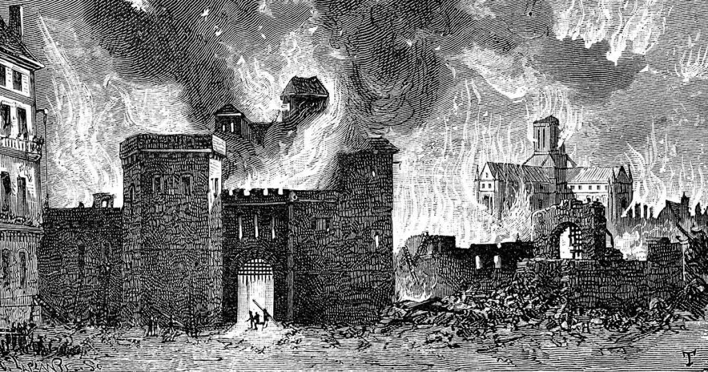 Engraving of the Great London Fire of 1666