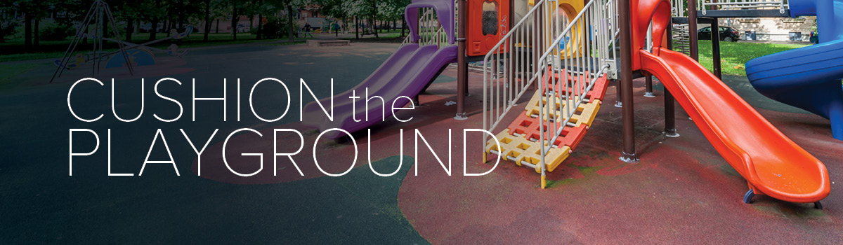 Children's playground equipment, including jungle gym with different colored slides