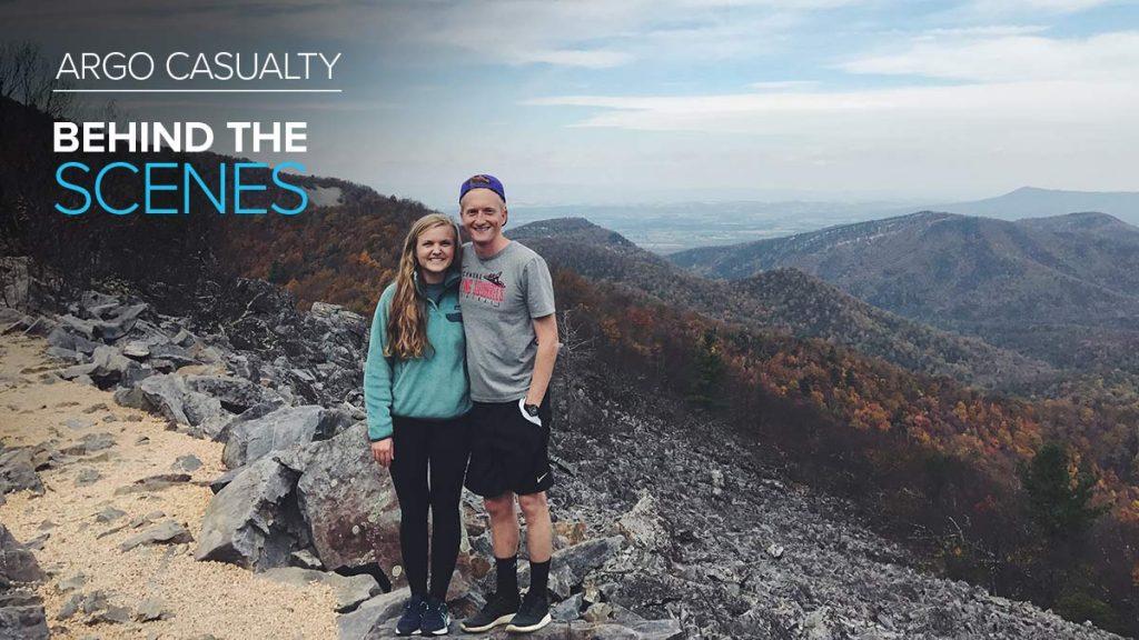 Argo Casualty employee Jacob Heatherington posing on a mountain