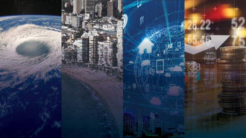 Four panels showing space view of hurricane, tall buildings along beach, digital representation of a globe, coins stacked
