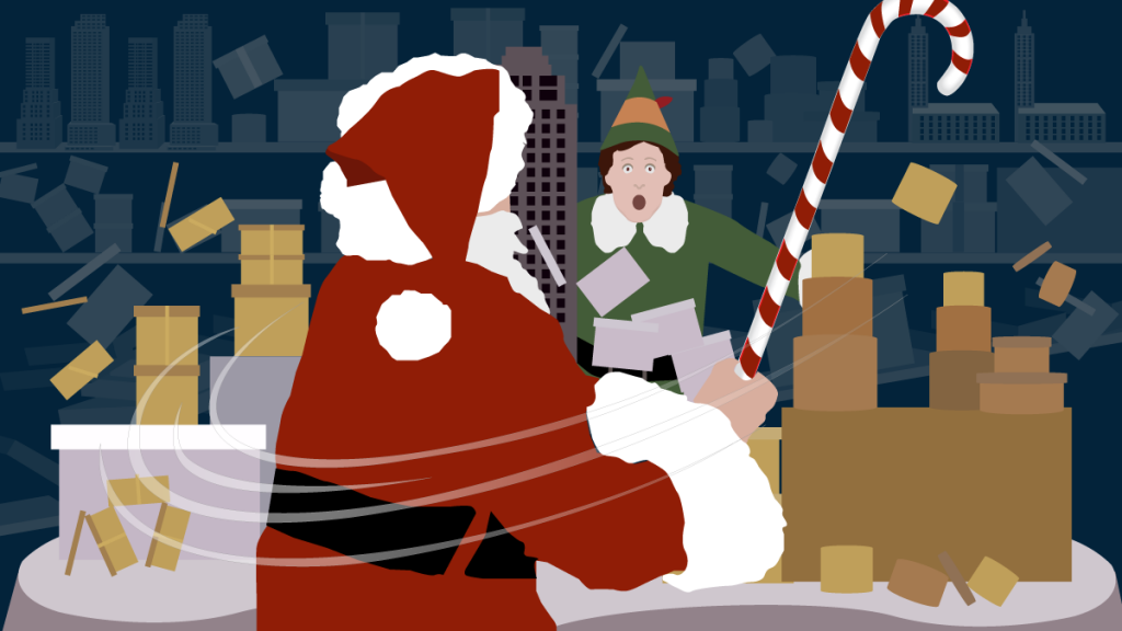 Santa Claus attacking elf with an oversized candy cane