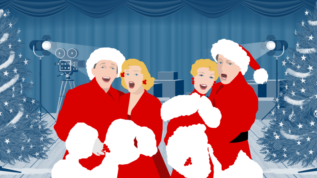 Two couples singing and dressed as Santa
