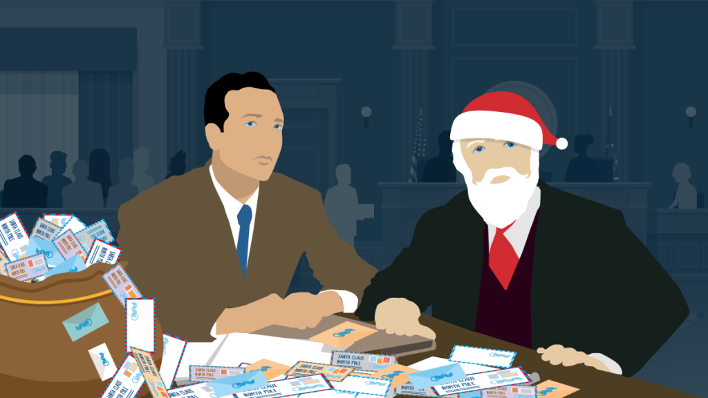 Santa dressed in a suit sitting at defendant's table