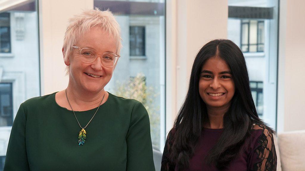 Judith Fumero and Karishma Rathod smiling