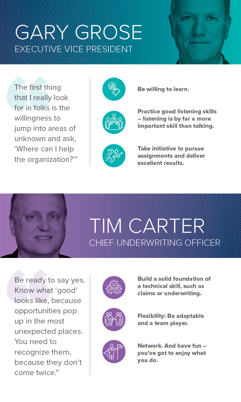 Insurance career advice from Gary Grose, Executive Vice President and Tim Carter, Chief Underwriting Officer