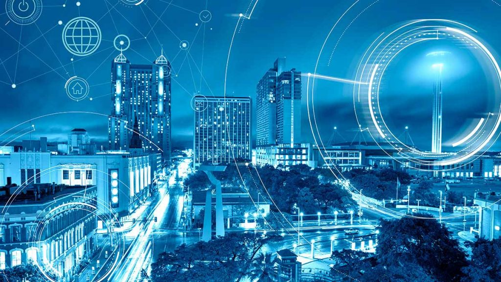 Smart city concept, downtown San Antonio