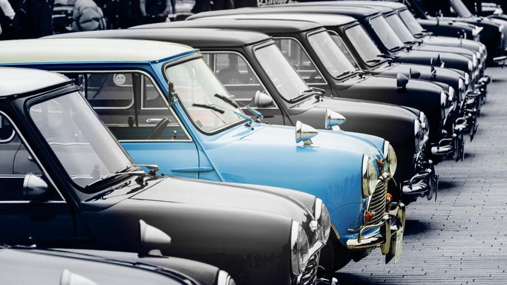 Row of classic Mini Cooper cars