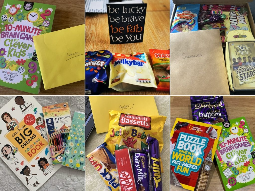 Montage of gifts including activity books, cards and candies