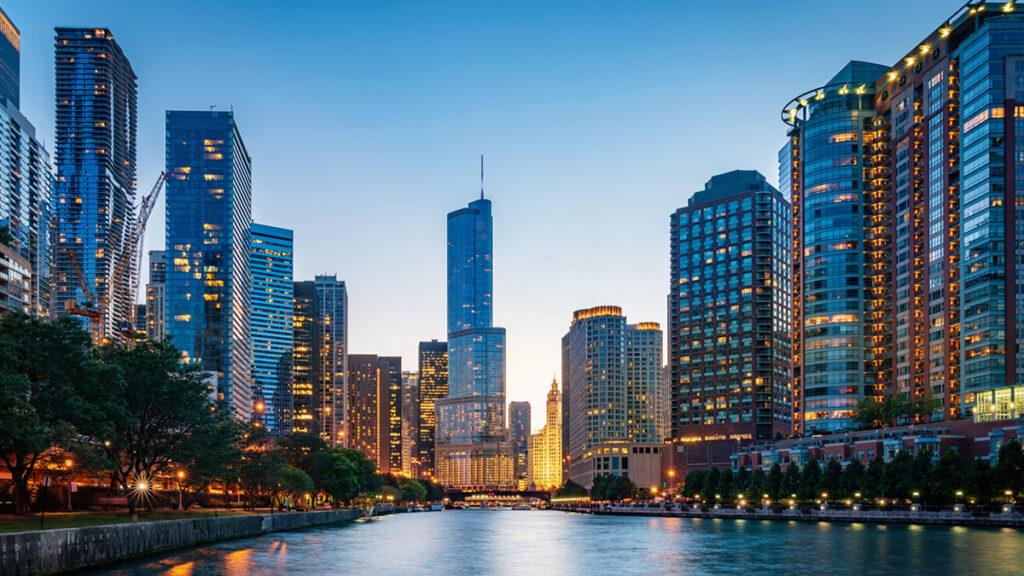 Chicago Cityscape at Dusk Illinois USA